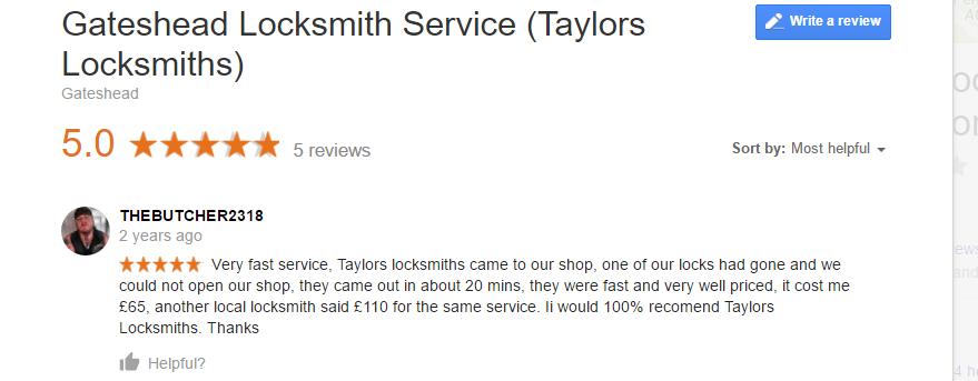 Gateshead Locksmiths service (Taylors Locksmiths)